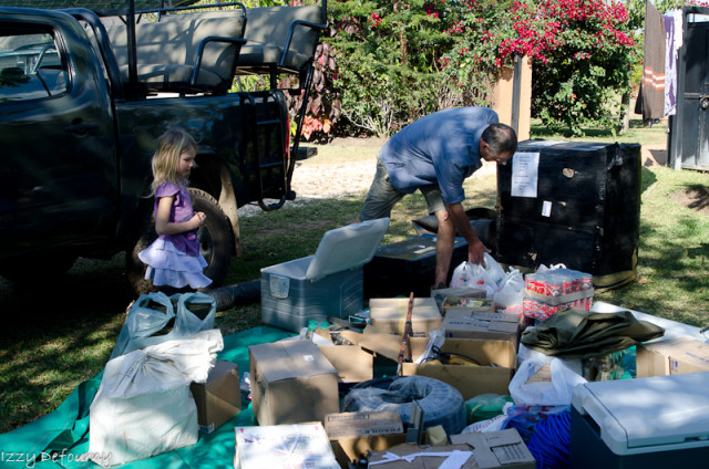 Derek and Saphire Shenton sorting the last supplies in Lusaka