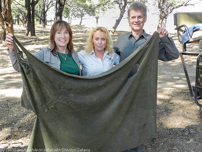 Karen, Yvonne and Joe - and what is left of the blanket